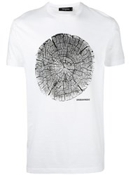 Dsquared2 Tree Trunk Print T Shirt Men Cotton Xxl White