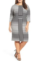 Gabby Skye Plus Size Women's Optic Stripe Sheath Dress