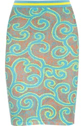 Sibling Printed Stretch Cotton Blend Skirt