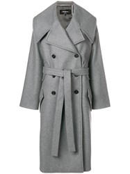 Rochas Belted Double Breasted Coat Grey