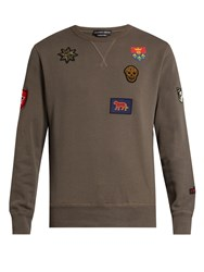 Alexander Mcqueen Badge Applique Cotton Sweater Grey