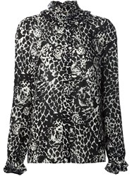 Saint Laurent Leopard Print Ruffle Blouse Black