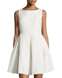 Taylor Eyelet Sleeveless Fit And Flare Dress White Nude