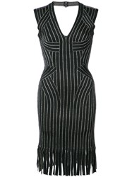 Herve Leger Fringed Fitted Dress Nylon Spandex Elastane Rayon Metal Xs Black