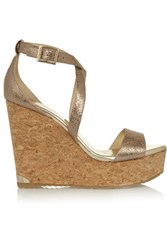 Jimmy Choo Portia Metallic Cracked Leather Wedge Sandals Gold