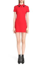 Givenchy Women's Star Embellished Polo Dress Red Black