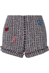 Sjyp Steve J And Yoni P Embroidered Tweed Shorts Navy
