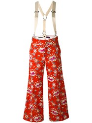 Y's Floral Wide Leg Trousers Women Cotton Cupro 1 Red