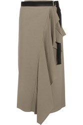 Brunello Cucinelli Canvas Trimmed Draped Cotton Blend Wrap Midi Skirt Mushroom