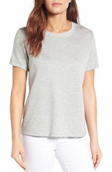 Gibson Women's Woven Back French Terry Sweatshirt Grey With Blue White Stripe
