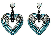 Betsey Johnson Heart Drop Earrings Blue Earring