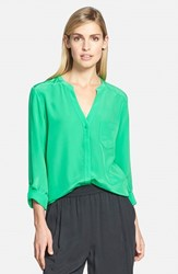 Trouve Women's Trouve Silk Blouse Green Bright
