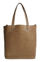 Madewell Medium Leather Transport Tote Green Washed Olive