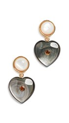 Lizzie Fortunato Forevermore Earrings Black Mother Of Pearl