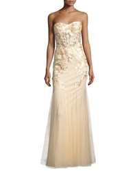 Lm Collection Floral Embroidered Bustier Gown Beige