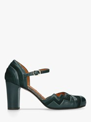 Chie Mihara Kiddy High Block Heel Ankle Strap Court Shoes Green Leather Suede