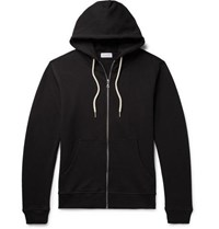 John Elliott Loopback Cotton Blend Jersey Zip Up Hoodie Black
