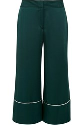 Monse Cropped Hammered Satin Wide Leg Pants Emerald