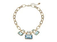 Lauren Ralph Lauren 16 Large Faceted Bezel Set Stones With Chain Frontal With Fold Over Closure Gold Blue Green Necklace