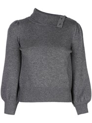 Co Buttoned High Neck Jumper Grey