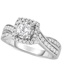 Macy's Diamond Twist Halo Engagement Ring 3 4 Ct. T.W. In 14K White Gold