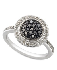 Macy's Sterling Silver Ring Black And White Diamond Circle Ring 1 2 Ct. T.W.