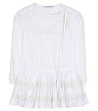 Givenchy Lace Trimmed Cotton Blouse White