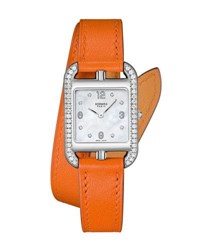 Hermes Cape Cod Pm Watch With Diamonds And Leather Strap Orange