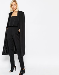 Lavish Alice Collarless Cape Coat Black