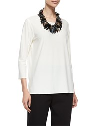 Caroline Rose 3 4 Sleeve Stretch Knit Top Women's White