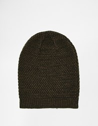 Asos Slouchy Beanie In Khaki And Black Texture Twist