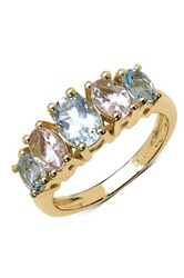 Olivia Leone 18K Yellow Gold Plated Sterling Silver Oval Aquamarine And Morganite Graduated Five Stone Ring Multi