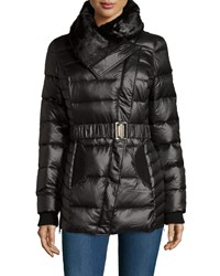 Catherine Catherine Malandrino Faux Fur Collar Belted Puffer Jacket Black