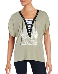 Vintage Havana Short Sleeve Graphic Lace Up Tee Olive