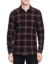 The Kooples Heavy Seersucker Check Slim Fit Button Down Shirt Red