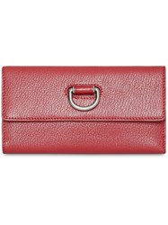 Burberry D Ring Grainy Leather Continental Wallet Red