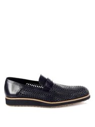 A. Testoni Open Woven Leather Dress Loafers Navy