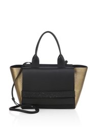 Brunello Cucinelli Small Two Tone Leather Tote Graphite Gold