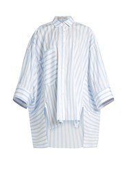 Palmer Harding Poet Patch Pocket Striped Shirt Blue White