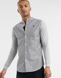 Sik Silk Siksilk Pinstripe Grandad Collar Shirt White