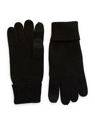 Black Brown Cashmere Smart Gloves Black