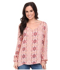 Stetson 9577 Coral Aztec Printed Rayon Red Women's T Shirt