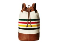 Pendleton Leather Trim Duffle Backpack Glacier Park Stripe Backpack Bags Beige