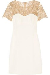 Mikael Aghal Embroidered Tulle Paneled Silk Dress Ivory