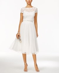 Adrianna Papell 2 Pc. Lace Tulle A Line Dress Ivory