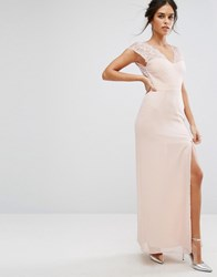 Elise Ryan Maxi Dress With Eyelash Lace Sleeve And V Back Nude Pink