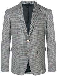 Mauro Grifoni Checked Tailored Blazer Grey