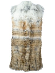 Yves Salomon Degrade Fur Vest Nude And Neutrals