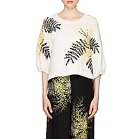 Valentino Mimosa Embroidered Crop Sweater Blue