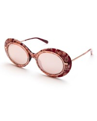 Krewe Iris Mirrored Oval Sunglasses Pink Rose Gold